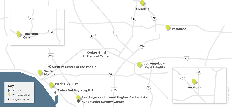 main map of cedars-sinai kerlan-jobe institute locations