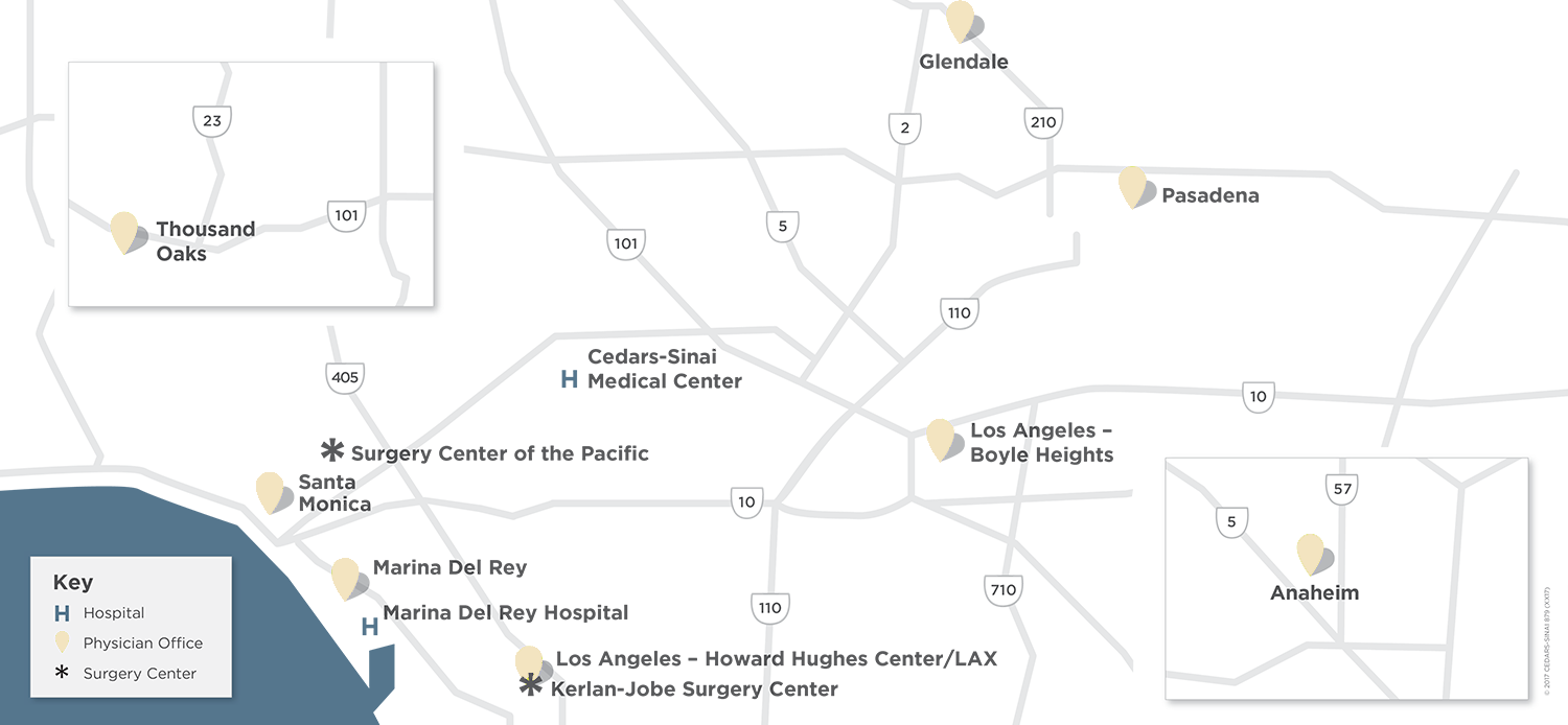 Cedars-Sinai Kerlan-Jobe Institute Map of Locations